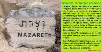 Evangelio del decimocuarto domingo del tiempo ordinario